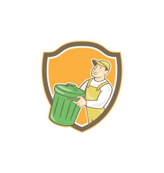 Garbage collector carrying bin shield cartoon vector