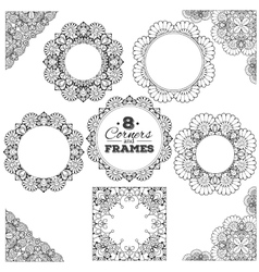 Set of lace frames and corners with transparent vector image