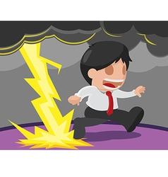 Businessman danger running lightning scared vector