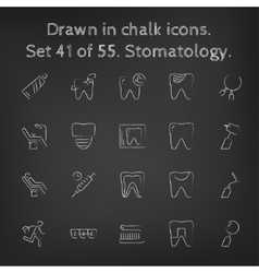 Stomatology icon set drawn in chalk vector image