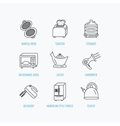 Microwave oven teapot and blender icons vector image