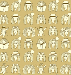Sketch girls face pattern vector