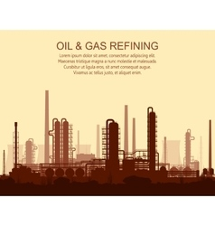 Oil and gas refinery at sunset vector