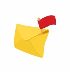 Yellow envelope and red flag icon cartoon style vector