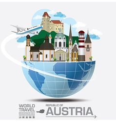 Austria landmark global travel and journey vector