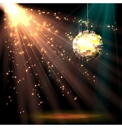 Disco ball background with light vector