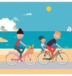 Happy family riding bikes on the beach vector