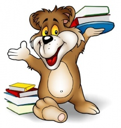 Sweet bear and books vector