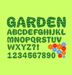 alphabet with garden or nature design in green vector image vector image
