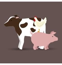 animals farm poster icon vector image vector image