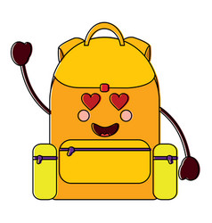 Backpack heart eyesschool supplies kawaii ic vector