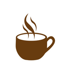 Brown cup coffee with smoke vector