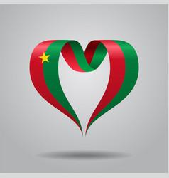 burkina faso flag heart-shaped ribbon vector image vector image