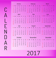 Calendar for 2017 year week starts sunday vector