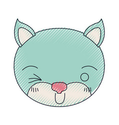 Color crayon silhouette cute face of kitten wink vector