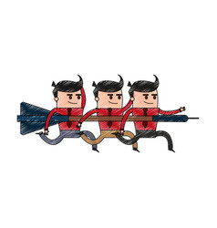 color pencil image cartoon teamwork holding arrow vector image vector image