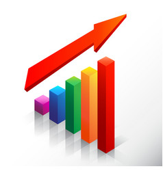 colored bar chart emphasizing growth with arrow vector image