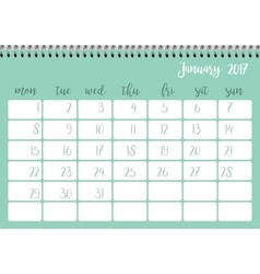 Desk calendar template for month January Week vector image vector image