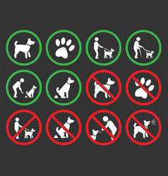 dogs allowed and prohibited signs vector image vector image