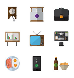 Flat icon life set of whiteboard clock vector
