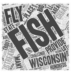 Fly fishing wisconsin word cloud concept vector