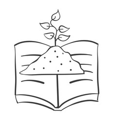 hand draw book and plant vector image
