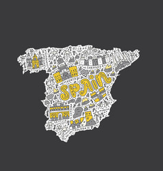 handdrawn map of spain vector image vector image