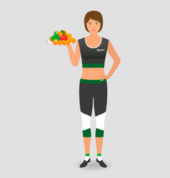 Healthy food for a diet athlete woman hold a tray vector