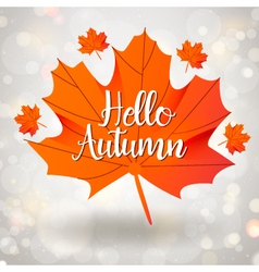 Hello autumn season design with maple leaf vector