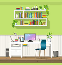 interior equipment of a home office vector image vector image