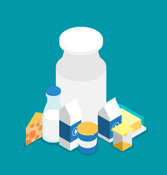 Isometric milk icon set vector