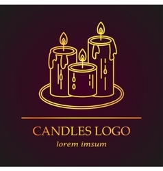 Logo with golden candles vector