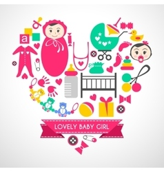 Newborn baby girl icons set vector image vector image