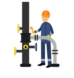 oilman character in a blue uniform working on an vector image vector image
