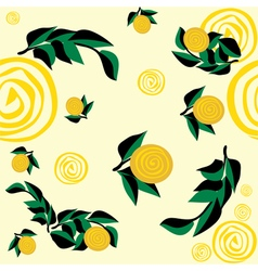 seamless pattern with yellow flowers and leaves vector image