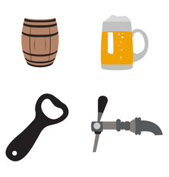 Set of beer related objects vector