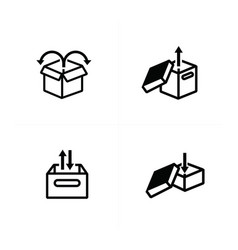 set of box and arrow icons vector image