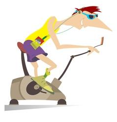 Sportsman trains on exercise bike vector