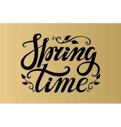 Spring time letteringbblackgold background vector