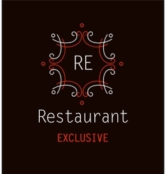 Template logo for the restaurant monogram vector