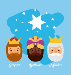 three wise men bringing gifts to christ star night vector image