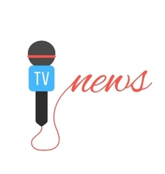 tv channel microphone with news lettering vector image