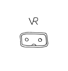 Vr technology glasses hand drawn style icon vector
