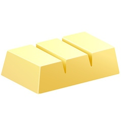 White chocolate bar in three pieces vector