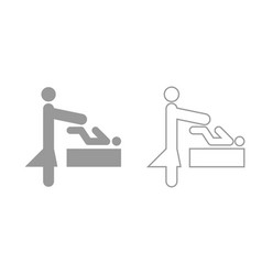 Woman and baby grey set icon vector