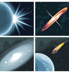 Digital cosmos icons set with galaxy vector