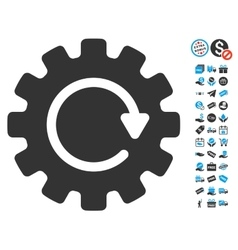 Gearwheel rotation icon with free bonus vector