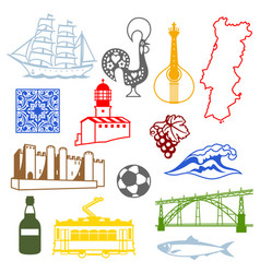 Portugal icons set portuguese national vector