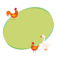 Cute funny farm birds - rooster hen goose - on vector
