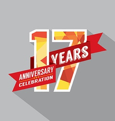 17th Years Anniversary Celebration Design vector image vector image